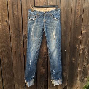 Distressed cuffed low rise jeans size 3